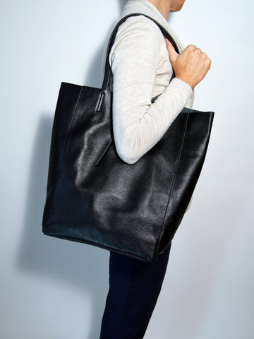 Black Leather Tote Bag - edocollection