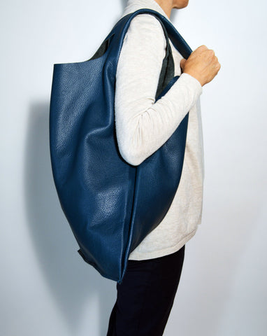 Large Leather Hobo Bag-Teal - edocollection