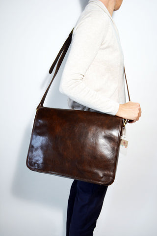 Leather Messenger Bag-Brown - edocollection