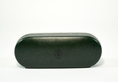 Large Leather Glasses Case-Dark Green - edocollection