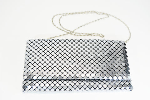 Silver Metal Mesh Clutch-Evening Purse - edocollection