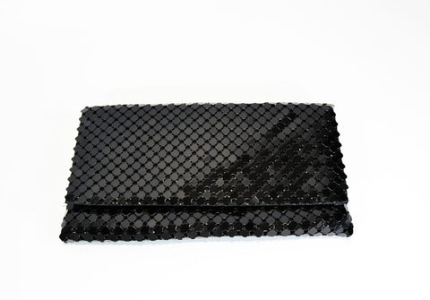 Metal Mesh Clutch Evening Purse- Black - edocollection