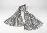Viscose Scarf Floral Motif-Grey - edocollection