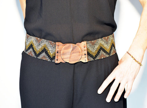 Elastic Beaded Belt Gold - edocollection