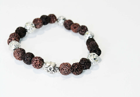 Mens Lava Rock Beads Skull Bracelet - edocollection