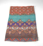 Viscose Scarf-Orange Teal - edocollection