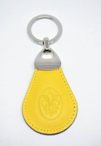 Mens Leather Key Ring-Yellow - edocollection