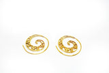 Spiral Brass Earrings Wave Motif - edocollection