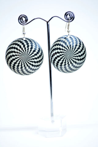 Metal Dangle Earrings Spiral Print - edocollection