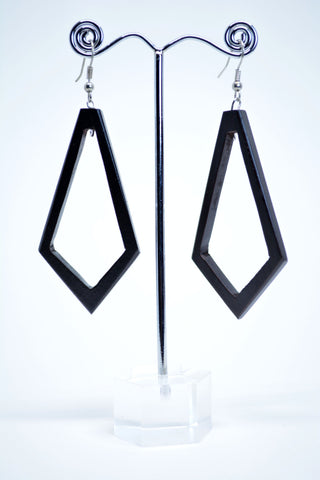 Geometric Drop Wood Earrings Black - edocollection