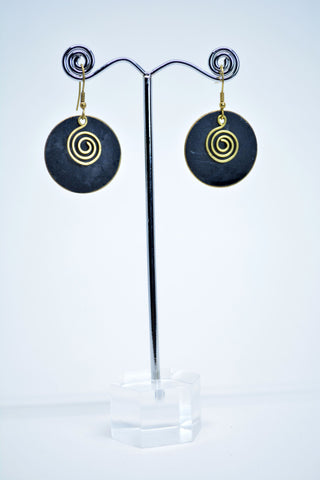Drop Round Brass Earrings Black Painted - edocollection