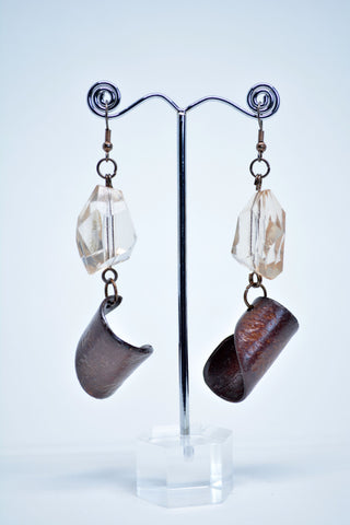 Drop Curl Wood Earring With Faceted Resin Crystal - edocollection