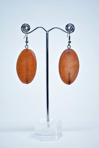 Horn Oval Brown Earring - edocollection