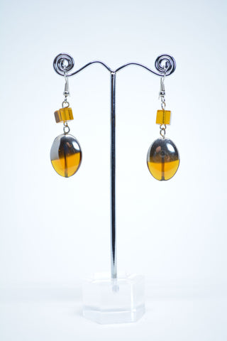 Drop Oval Glass Earrings - edocollection