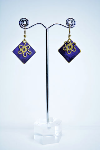 Brass Drop Earrings Purple - edocollection