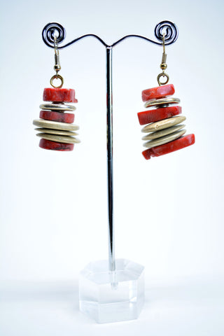 Bamboo Coral Drop Chunky Earrings - edocollection