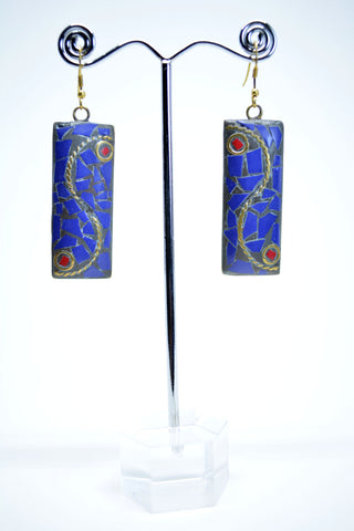 Brass Drop Earrings With Lapislazzuli Stone - edocollection
