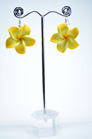 Rubber Flower Drop Earrings Yellow - edocollection