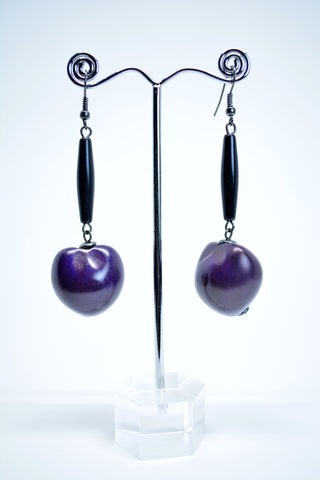 Drop Coconut Seed Earrings Purple - edocollection