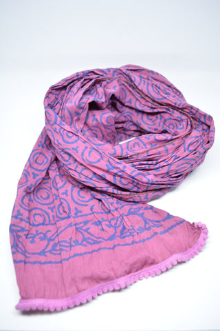 Womens Cotton Scarf Hand Print Purple - edocollection