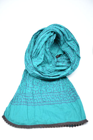 Block Print Cotton Scarf- Teal - edocollection
