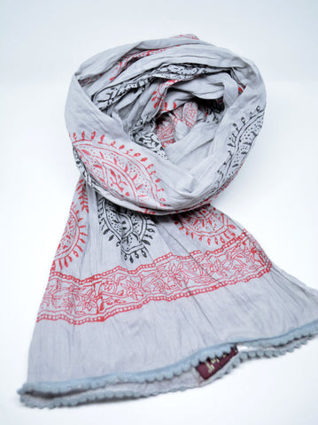 Grey Cotton Mens Scarf Paisley - edocollection