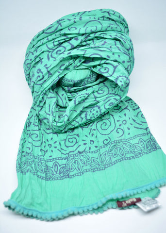 Womens Cotton Scarf Block Prin Mint Green - edocollection
