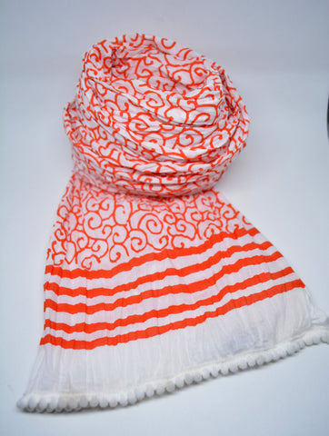 White and Orange Hand Block Print Scarf - edocollection