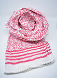 Hand Block Print Cotton Scarf Red - edocollection