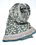 Hand Block Print Cotton Scarf-Green - edocollection