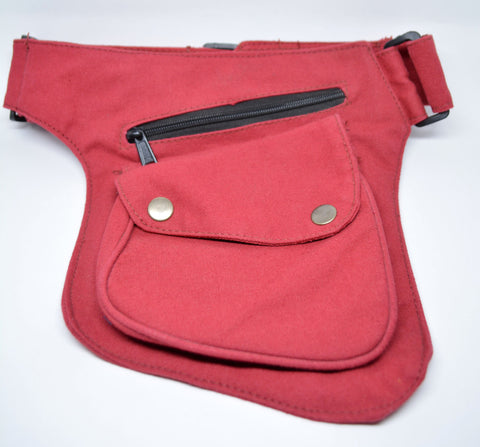 Cotton Canvas Pocket Belt-Red - edocollection