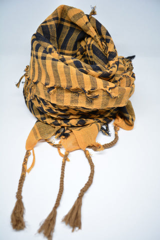 Mens Cotton Arab Scarf Yellow Gold - edocollection