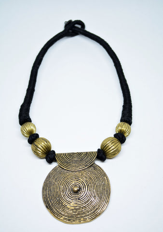 Brass Collar Necklace Brass Spiral Pendant - edocollection