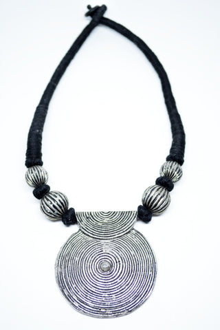 German Silver Collar Necklace Spiral Pendant - edocollection