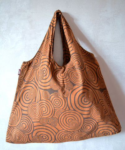 Large Hobo Bag Spiral Motif-Brown - edocollection