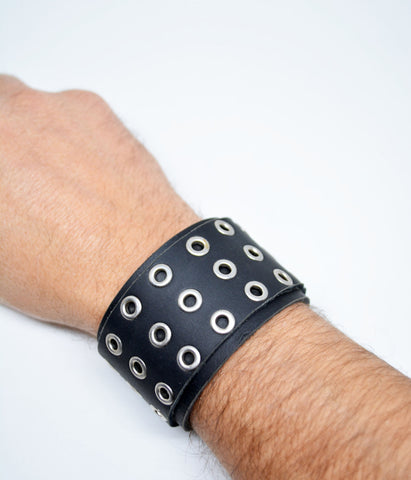 Mens Large Studded Leather Bracelet Black - edocollection