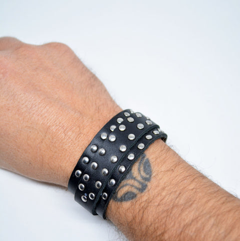 Mens Black Leather Studded Bracelet - edocollection