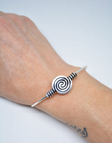 Women's German Silver Spiral Wire Cuff Bracelet - edocollection