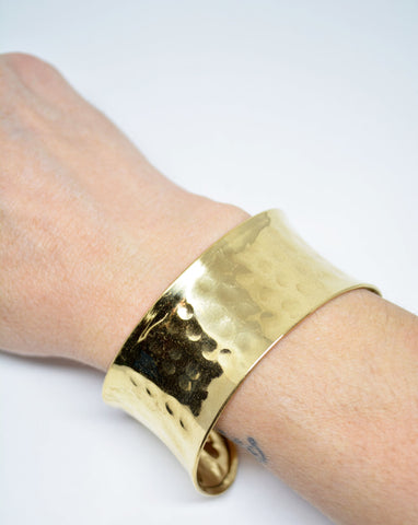 Women's Hammered Brass Cuff Bracelet - edocollection