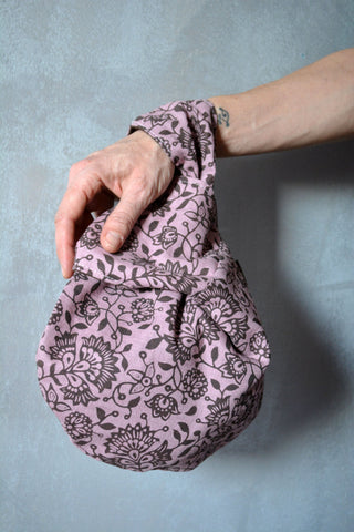 Pink Wrist Bag Brown Flowers - edocollection