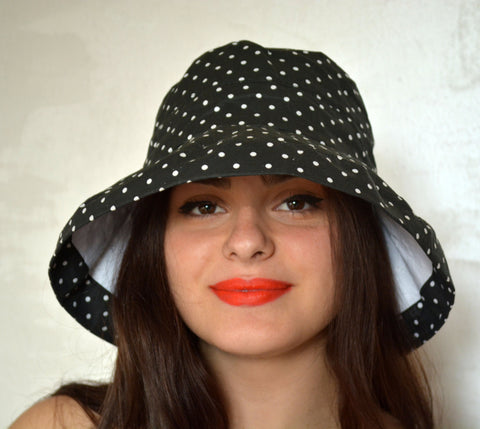 Black Dotted Cotton Hat - edocollection