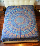 Cotton Bed Sheet Mandala  Blu - edocollection