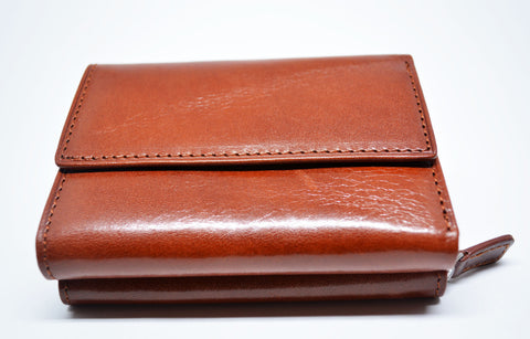 Compact Leather Wallet-Tan - edocollection
