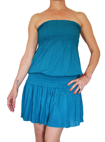 Sleeveless Short Dress Teal - edocollection