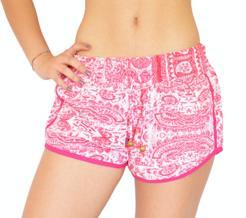 White/Pink Abstract Shorts - edocollection