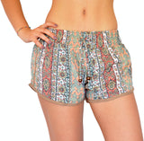 Light Green Coral Flowers Shorts - edocollection