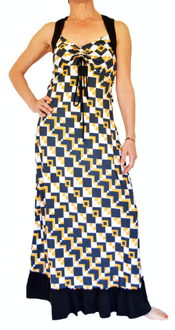 Swing Long Dress Plaid Print Black/Yellow - edocollection