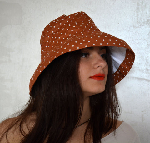 Brown Dotted Summer Hat - edocollection