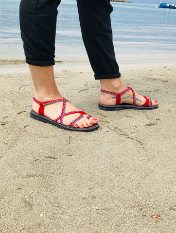 Flat Summer Sandals For Women-Red - edocollection
