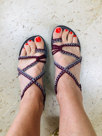 Handwoven Beach Wedges Sandals For Women - Burgundy-Giulia  Style